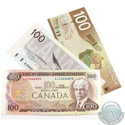 Run of three $100.00 Notes from the Bank of Canada spanning from 1975 to 2004. Included is a 1975, 1