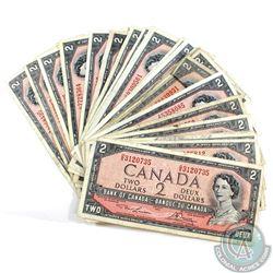 25 x 1954 $2.00 notes with Various Signatures. 25 pcs.