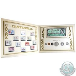1867-1967 Canada Centennial 6-coin Year Set with a 1967 $1 Note and 13 Stamps in display Folder.