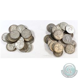 Estate Lot of Canada 1940's to 1953 Silver 25-cent Collection. 60pcs