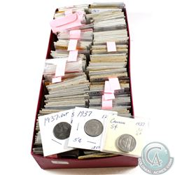 Estate Lot of 1922-1980 Canada 5-cent Collection. 200pcs.