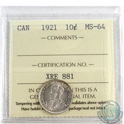 1921 Canada 10-cent ICCS Certified MS-64