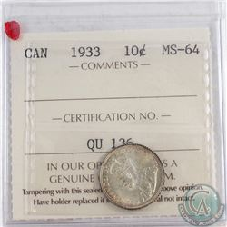 1933 Canada 10-cent ICCS Certified MS-64