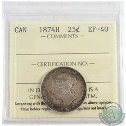 1874H Canada 25-cent ICCS Certified EF-40