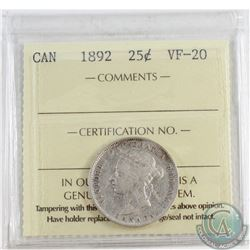 1892 Canada Obv. 5 25-cent ICCS Certified VF-20