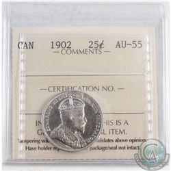 1902 Canada 25-cent ICCS Certified AU-55