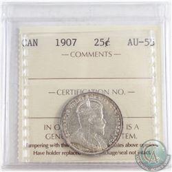 1907 Canada 25-cent ICCS Certified AU-55
