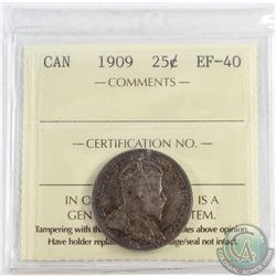 1909 Canada 25-cent ICCS Certified EF-40