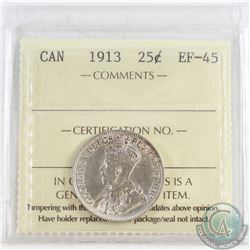 1913 Canada 25-cent ICCS Certified EF-45