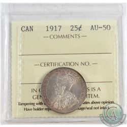 1917 Canada 25-cent ICCS Certified AU-50