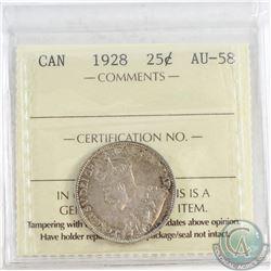 1928 Canada 25-cent ICCS Certified AU-58