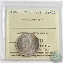 1936 Canada 25-cent ICCS Certified MS-63