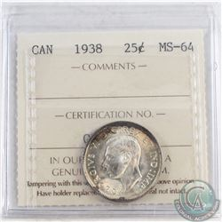 1938 Canada 25-cent ICCS Certified MS-64