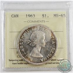 1963 Canada Dollar ICCS Certified MS-65