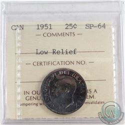 1951 Canada 25-cent ICCS Certified SP-64 Low Relief