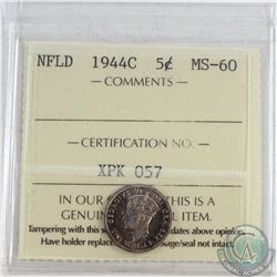 1944C NFLD 5-cent ICCS Certified MS-60