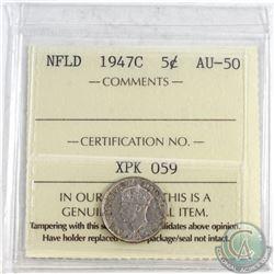 1947C NFLD 5-cent ICCS Certified AU-50