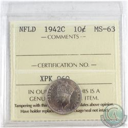 1942C NFLD 10-cent ICCS Certified MS-63