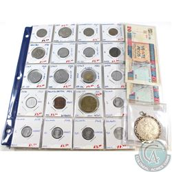 Estate Lot of World Banknotes and Coins including the 1700's Silver Austria Restrike coin. 23pcs.
