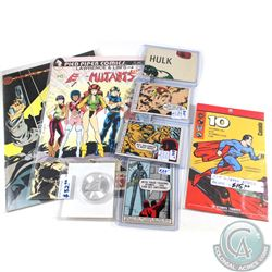 Estate Collection of Superheroes Lot. You will receive 2x Comic Books, 4x Collector Cards, 1 Pack of