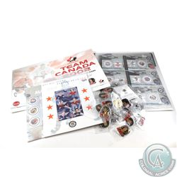 Estate Lot of NHL Pin and Stamp Collection. You will receive a 2002 Team Canada Pin Collection, and