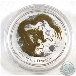 2012 Australia $1 Gold Plated - Year of the Dragon Fine Silver Coin (TAX Exempt)