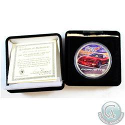 2003 50th Anniversary Corvette, Colourized 1oz Fine Silver Eagle. Coin comes encapsulated in the Ori