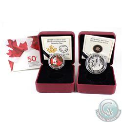 2013 Canada $10 Holiday Season Fine Silver Coin & 2015 $3 50th Anniversary of the Flag Fine Silver C