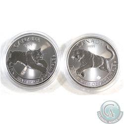 2016 Canada $5 Cougar Fine Silver Maple & 2017 Canada $5 Lynx Fine Silver Maple (Tax Exempt) 2pcs.