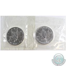 2006 & 2007 Canada $5 Fine Silver Maples Sealed in Original Pliofilm (Tax Exempt) 2pcs.