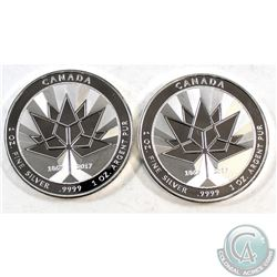 Pair of 2017 Canada 150th 1oz Fine Silver Maples $5 (Tax Exempt) 2pcs.