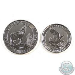 2015 Canada $2 Grey Wolf 3/4oz & 2015 Canada $2 Eagle 1/2oz Fine Silver Coins (TAX Exempt) 2pcs.