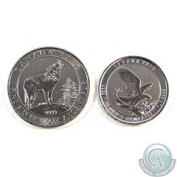 2015 Canada $2 Grey Wolf 3/4oz & 2015 Canada $2 Eagle 1/2oz Fine Silver Coins (TAX Exempt) 2pcs.