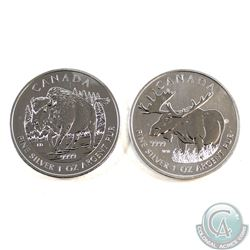 2012 Canada $5 Moose & 2013 Canada $5 Bison Fine Silver Maples (Tax Exempt). Please note coins may h