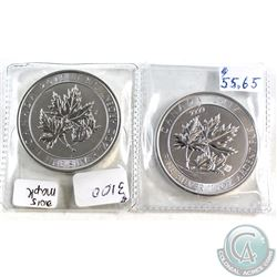 2015 & 2017 Canada $8 Super Leaf 1.5oz Fine Silver Coins (Tax Exempt). 2pcs.