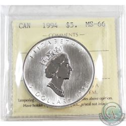 1994 Canada $5 Silver Maple ICCS Certified MS-66 (Tax Exempt)