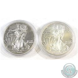 2015 & 2016 United States $1 1oz Fine Silver Eagles (Tax Exempt) Coins contain toning. 2pcs.