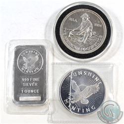 Fine Silver 1oz Round & Bar Group Lot (Tax Exempt). You will receive a 1oz Prospector Round, 1oz Sun