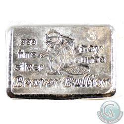 Beaver Bullion 3 Troy oz .999 Fine Silver Bar (Tax Exempt)