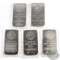 Vintage 1981 Engelhard 1oz Fine Silver Bar lot - 'P' series (Tax Exempt) 5pcs.