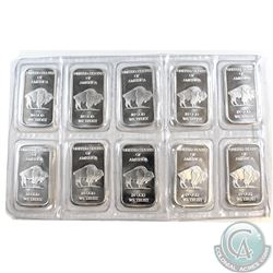 Lot of United States Buffalo 1 oz. .999 Silver Bars Sealed in Original Pliofilm (TAX Exempt) 10pcs.
