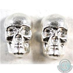 Pair of 1oz Fine Silver Skulls by Beaver Bullion (Tax Exempt) 2pcs.