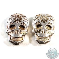 Pair of Monarch -The Day of the Dead 2oz Silver Orange Sugar Skulls (Tax Exempt) 2pcs.