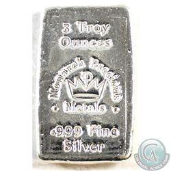 Hand Poured Monarch Precious Metals 5oz Fine Silver Bar (Tax Exempt)