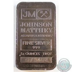 Scarce Johnson Matthey 5oz Fine Silver Bar (Tax Exempt) Serial # 071408