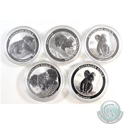 2012-2017 Australia Koala 1oz Fine Silver Coin Lot (Tax Exempt). You will receive the 2012, 2013, 20
