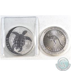 2017 Australia Kangaroo & 2017 Niue Hawksbill Turtle 1oz Fine Silver Coins (Tax Exempt) 2pcs.