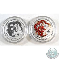 Pair of 2012 Australia 50-cent Year of the Dragon 1/2oz Fine Silver Coins (Tax Exempt). You will rec