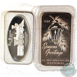 Pair of Vintage 1oz Fine Silver 'Art' Bars (Tax Exempt). You will receive a 1972 The General Bar & 1