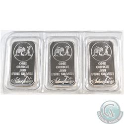 Set of SilverTowne 1oz Fine Silver Bars Sealed in Original Pliofilm (Tax Exempt) 3pcs.